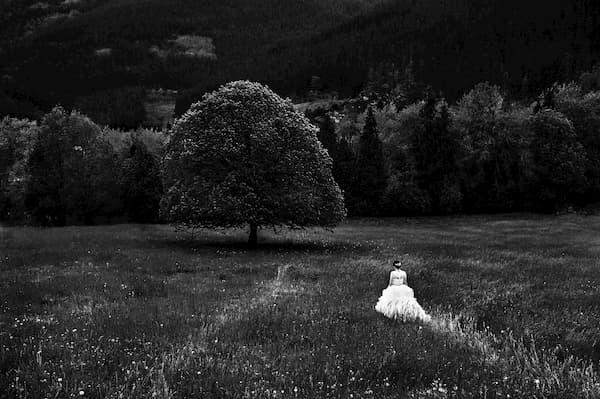 Novia en el campo.