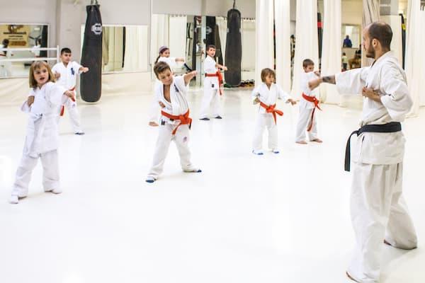 Niños practicando artes marciales.