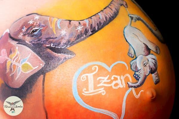 Bellypainting de elefantes.