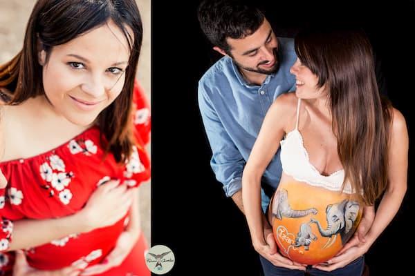 Mujer embarazada y hombre.