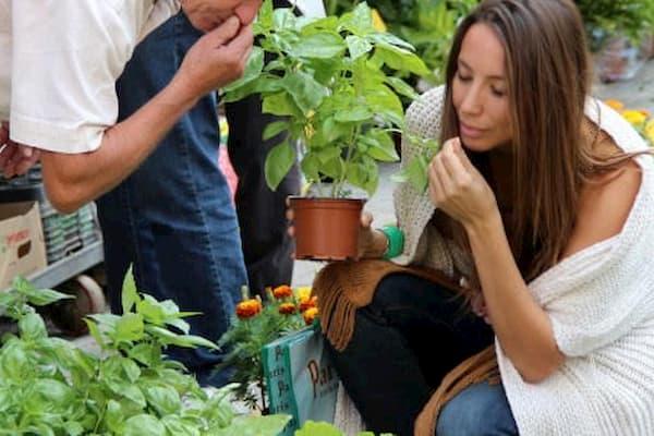 Mujer entre plantas.